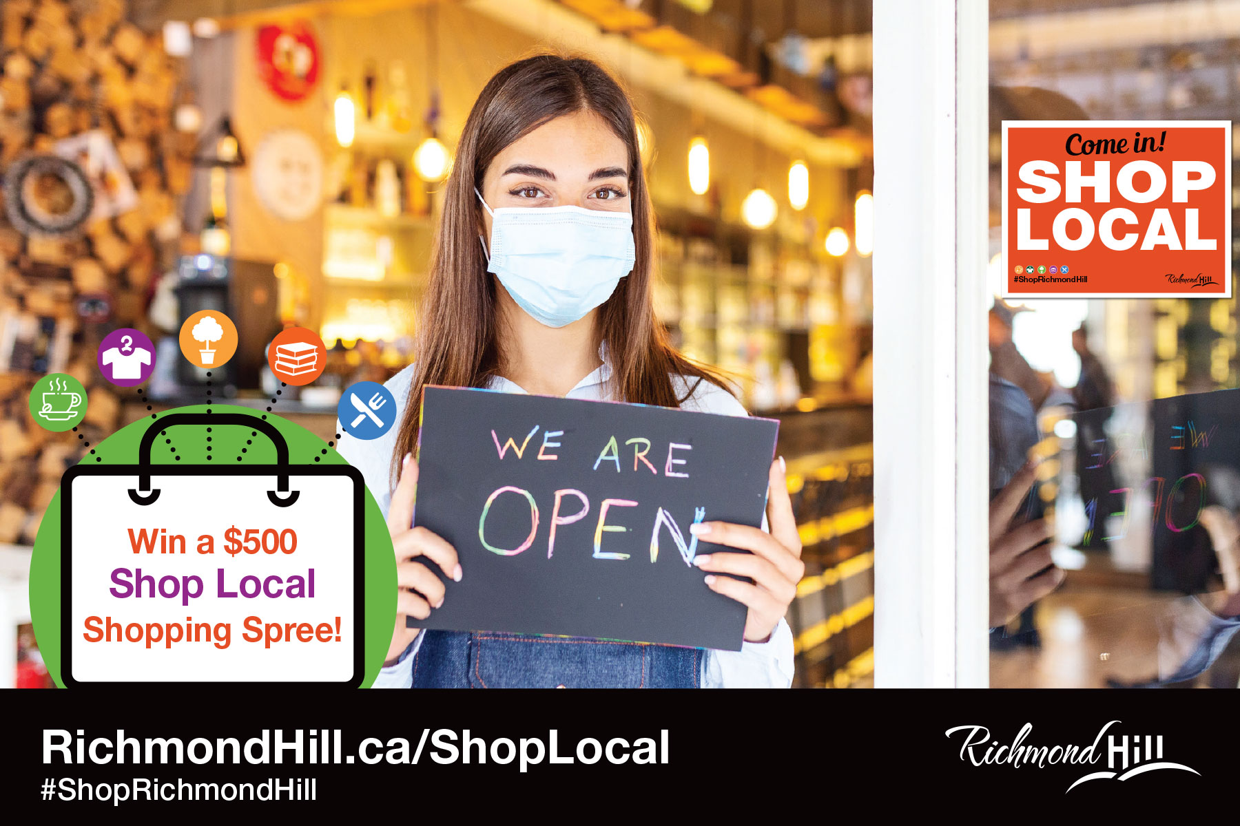 Business owner holds a We Are Open sign for the City of Richmond Hill Shop Local Contest. Participants can win a $500 Shop Local Shopping Spree.